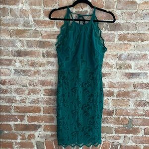 H&M Lace Bodycon Dress W/Open Back and High Neck